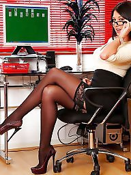 Stockings upskirt, Upskirt stockings, Secretary, Office