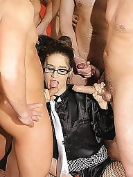 Mature glasses, Amateur mature, Gang bang, Glasses