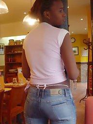 Thong, Exposed, Ebony nipples, Ebony public, Tight jeans, Tight