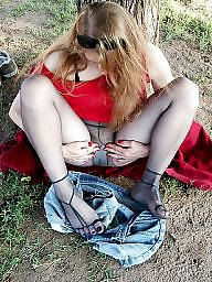Mature redhead, Mature outdoor, Lady