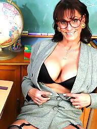 Teacher, Mature teacher, Brunette mature, Mature boobs, Mature stockings, Mature stocking