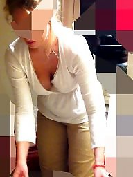 Downblouse, See through amateur, Nipple, See through, Wife, See