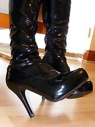 Amateur femdom, Pvc, Boots, Crotchless panties, Amateur mistress, Crotchless