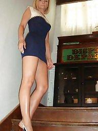 Mature upskirt, Mature heels, Heels, Mature legs, Leggings, Upskirt