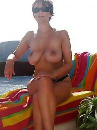 Beach boobs, Beach mature, Mature beach, Saggy, Short hair, Busty beach
