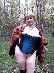 Mature redhead, Exposed, Forest