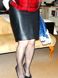 Skirt, Amateur stockings, Leather skirt, Leather