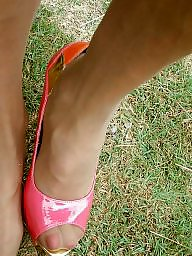 Mature outdoor, Mature heels, Pink, Heels, Outdoor mature, Mature stocking